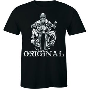 Original Old School Skeleton Ghost Biker T-shirt